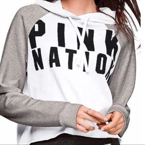 PINK Victoria's Secret Cropped Hoodie with Raw Hem